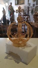 Maria kroontje, diameter 6 cm hoogte 14 cm, verguld koper met steentjes (4)