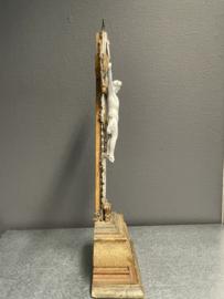 Staand huis altaar kruis, 45 x 15 cm, hout, porselein (8)