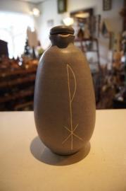 Wijwaterkruik, aardewerk, blauw 20 cm (7)