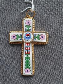 Millefiori kruis, 8 x 5 cm, Italiaans ingelegd glas in koper kruis, Milaan