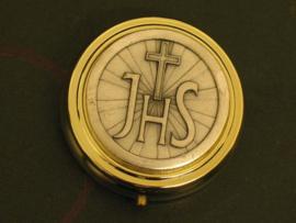 Pyxis Hostie doosje  IHS 5,5 cm doorsnede