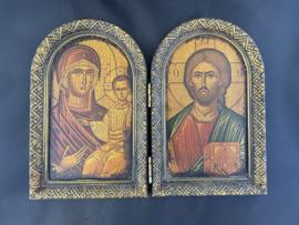 Tweeluik, Moeder Gods en Jezus, 15 x 19 cm, hout, (2)