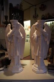 Engelen kandelaars gips 69 cm hoog (2 stuks)
