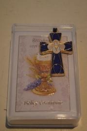 Communie kruis aan koord, geemailleerd 4 x 2.5 cm