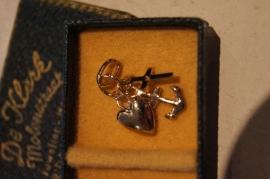 Geloof, Hoop en Liefde hangertje, zilver (925) verguld ca. 1 cm
