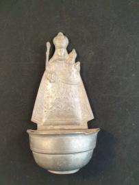 Wijwaterbakje Maria met kind, Tin 15cm (3)