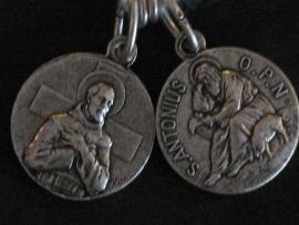 Devotie medaille Antonius Abt met varken / Franciscus
