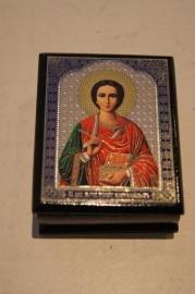 Rozenkrans Lakdoosje met icoon heilige 6 x 4 cm