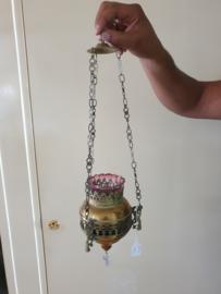 Godslamp koper met origineel glas, 49cm lang, 19de eeuw (24)