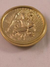Christoffel automagneet  doorsnee 2.5 cm goudkleurig