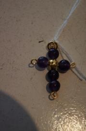 Half edelsteen kruisje (amethist) 3,5 x 2,5 cm goud kleurig Amethyst