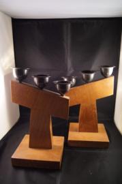 Tau kruis kandelaars 23 cm, Amsterdamse school (8)