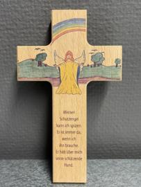 Houten kruisje, Engel, Duits. 15 x 9 cm (10)
