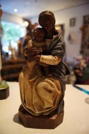 Tronende Maria met kind 23 cm, gips