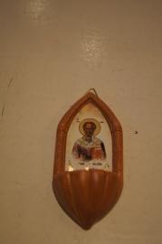 .Wijwater bakje Sint Nicolaas Bari, terracotta 11 x 5 cm