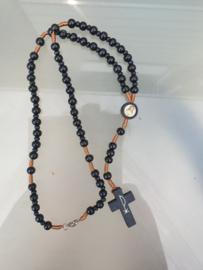 Rozenkrans, Jezus Heilig Hart, zwarte houten kraal, Pax kruis, 38 cm, incl. slotje