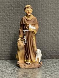Franciscus van Assisi, met wolf, lam en vogel, 8 cm, resin, (4)