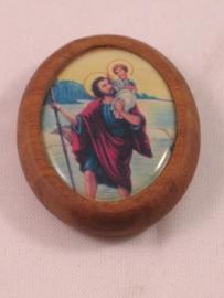 Christoffel magneet met houten rand 4 cm