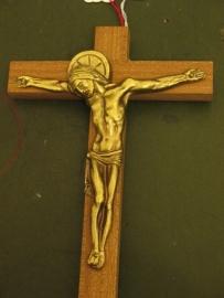 Crucifix kruis bruin hout Corpus van brons 17 x 11 cm