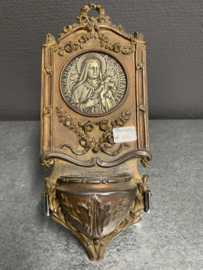 Wijwater bakje, Theresia van Lisieux, Koper, 22 cm (8)