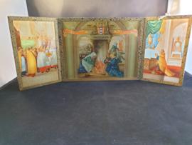 Mirakel van Amsterdam beschildering achter glas, 3 luik, 35x13cm (12)