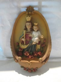 Wijwaterbakje OLV Hulp der Christenen 17 cm, resin (10)