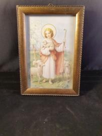 Antiek lijstje, Jezus goede herder, 15x11cm (12)