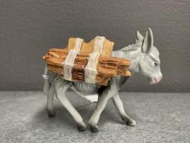 Ezel voor kerststal, rubber, 8 cm, sprokkel hout (9)