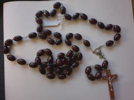 Rozenkrans, houten kralen, 80 cm, houten kruis