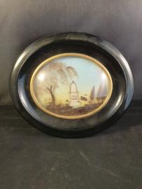 Haarwerk, Lijst van Ebbenhout, bolglas, 17x15cm 1876 (12)