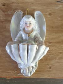 wijwaterbakje engel porselein 15 CM (17)