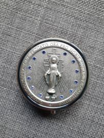 Pyxis, hostiedoosje, Maria Miraculeus 4.5 cm, met blauwe steentje ingelegd