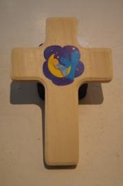 Kruisje voor kinderkamer hout 13 x 9 cm