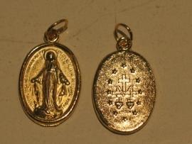 Medaille OLV Maria Miraculeus, goudkleurig 2 cm