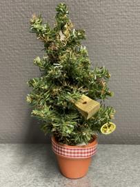 Kerstboom jaren 60,  19 cm in terracotta potje (9)