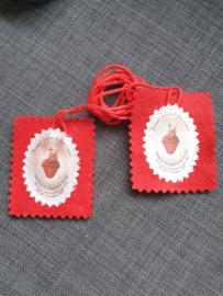 Stoffen scapulier, Heilig Hart van Jezus, 7 x 6 cm