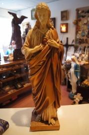 Jezus H. Hart beeld 52 cm gips bruin ca, 1900