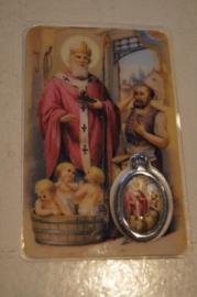 Gebedsplaatje Sint Nicolaas met medaille