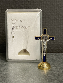 Benedictus Kruisje Staand, Blauw emaillen, 5 cm
