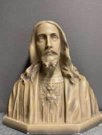 Jezus Heilig Hart, borstbeeld, gips, 36 x 36 cm, antiek (0)