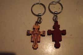 Sleutelhanger, San Damiano kruis, hout