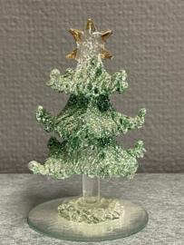 Kerstboom, glas, 10 cm hoog, (9)