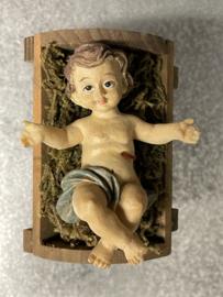 Kribbe kind, resin, houten krib, 7x6 cm (9)