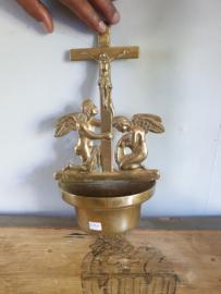 wijwaterbakje koper met engelen, 31cm (24)