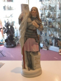 Jeanne D`Arc (Johanna) 35 cm hoog. Biscuit porselein