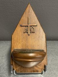 Wijwater bakje, Alva en Omega, Koper en hout, 17 cm (8)