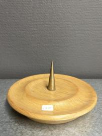kaarsen standaard met koperen pin, hout, 16 cm doorsnee (7)