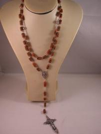 .Rozenkrans Theresia, antieke millefiori trade beads 62 cm