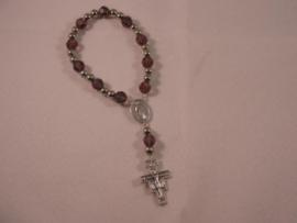 Rozenkrans armband Franciscus/Clara Swarovksi kralen, Damiano kruis