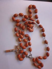Rozenkrans, houten kralen, 80 cm, houten kruis, licht bruin